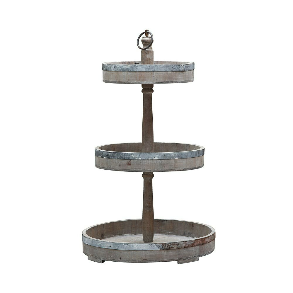 Wood & Metal 3-Tiered Tray