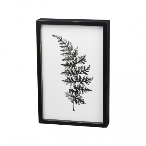 Inset Box Sign - Black & White Floral, 1