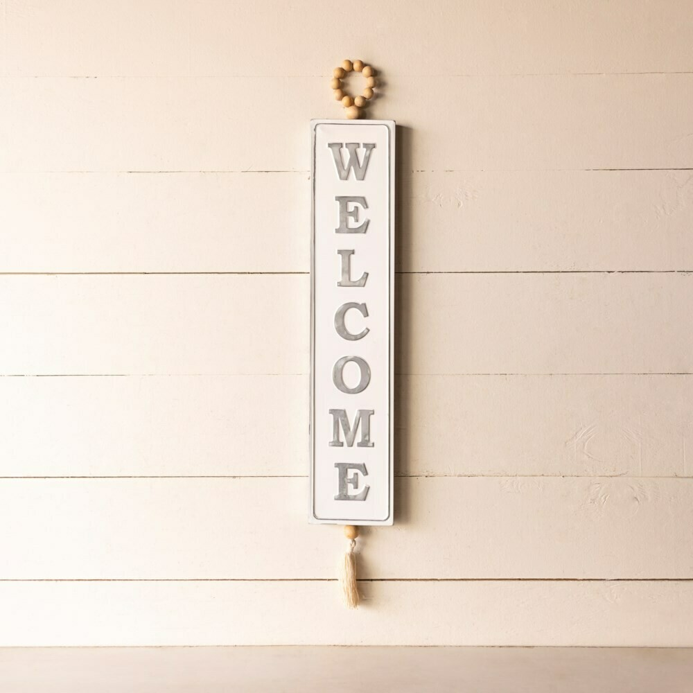Beaded Metal Welcome Sign