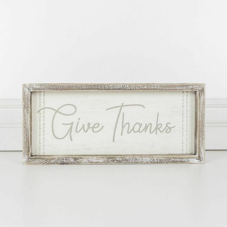 Give Thanks Framed Wood Sign
