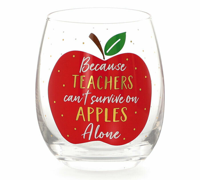 Apple Teacher Wine Glass