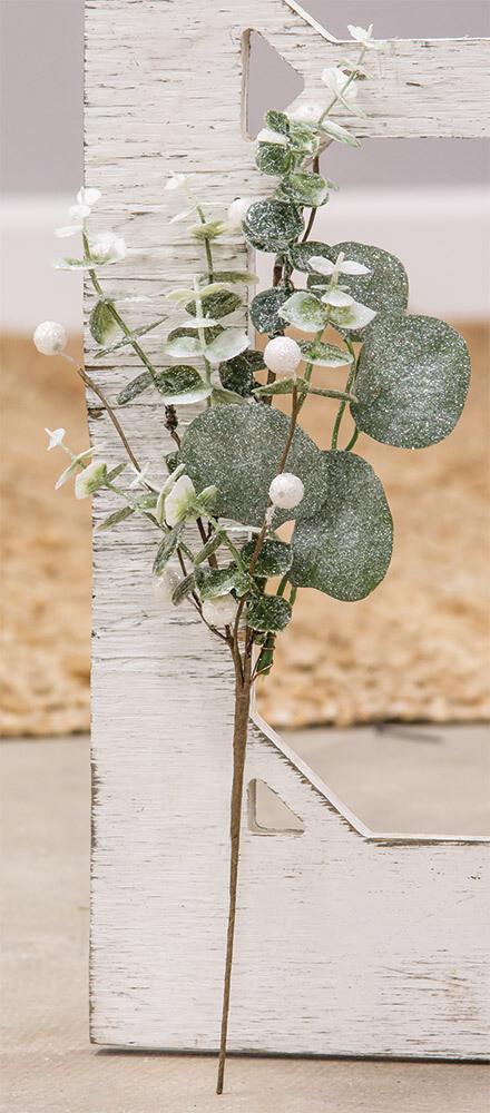 "16"" Glitter Frosted Eucalyptus Spray"