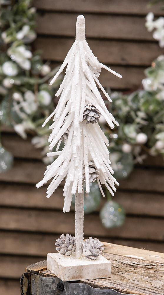 """10"""" White Glittered Pinecone Tree"""