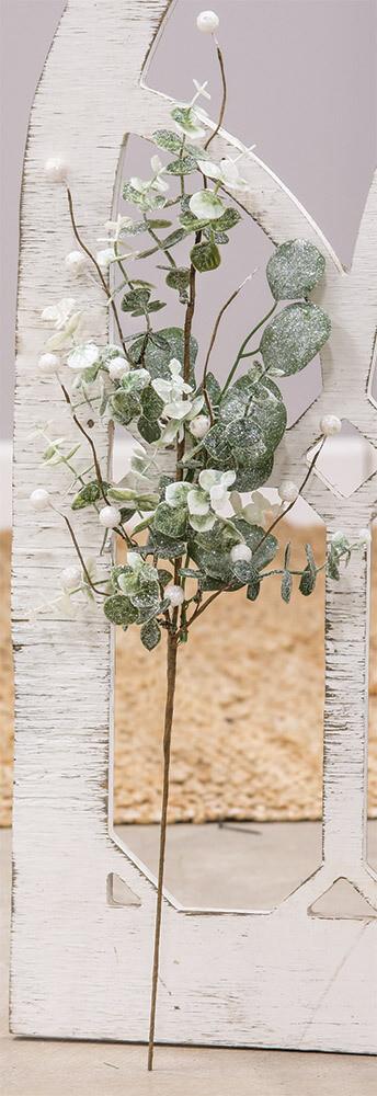 "24"" Glitter Frosted Eucalyptus Spray"
