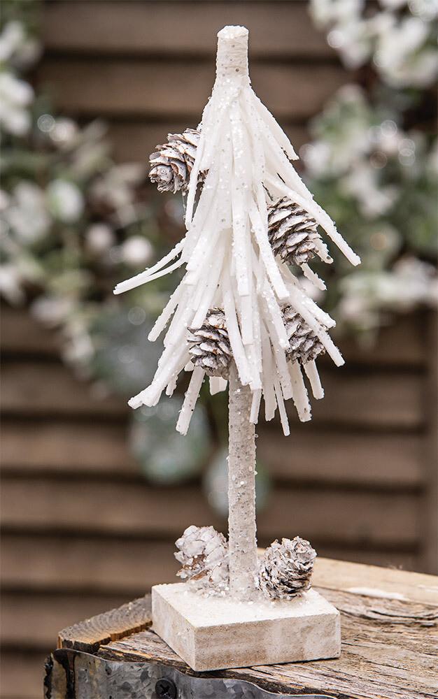 """8"""" White Glittered Pinecone Tree"""