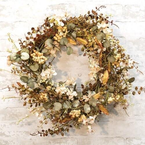 Cream Fall Floral Wreath