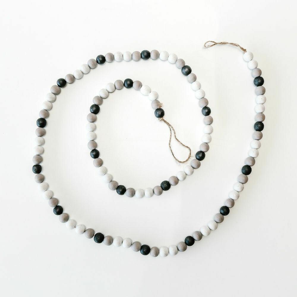 Black, White & Gray Wood Bead Garland