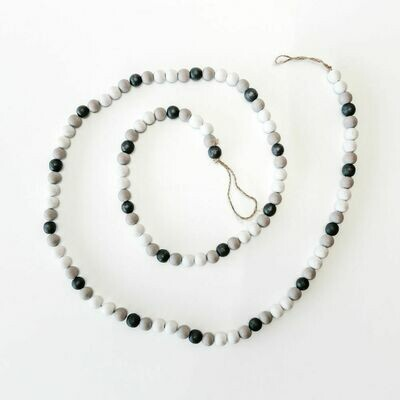 Black, White & Gray Wood Bead Garland