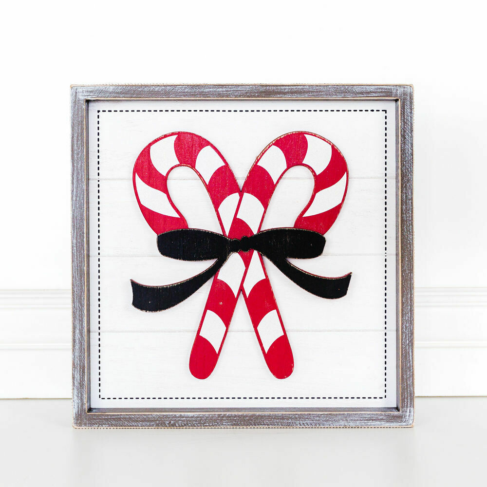 Candy Cane Bow Wood Sign