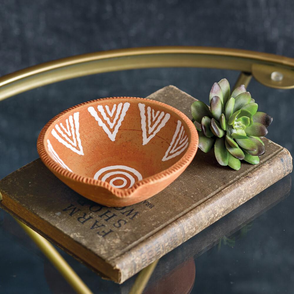 Hand Painted Terra Cotta Dish