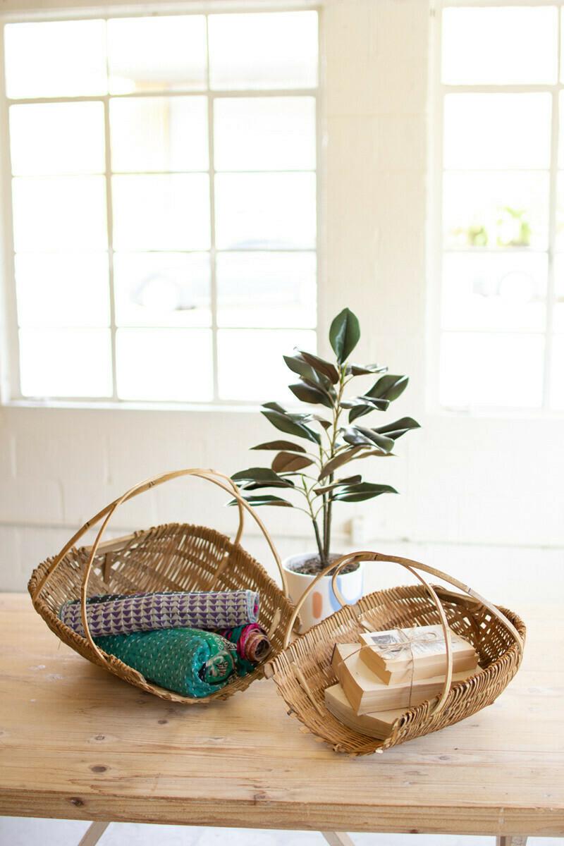 Lg Bamboo Scoop Basket