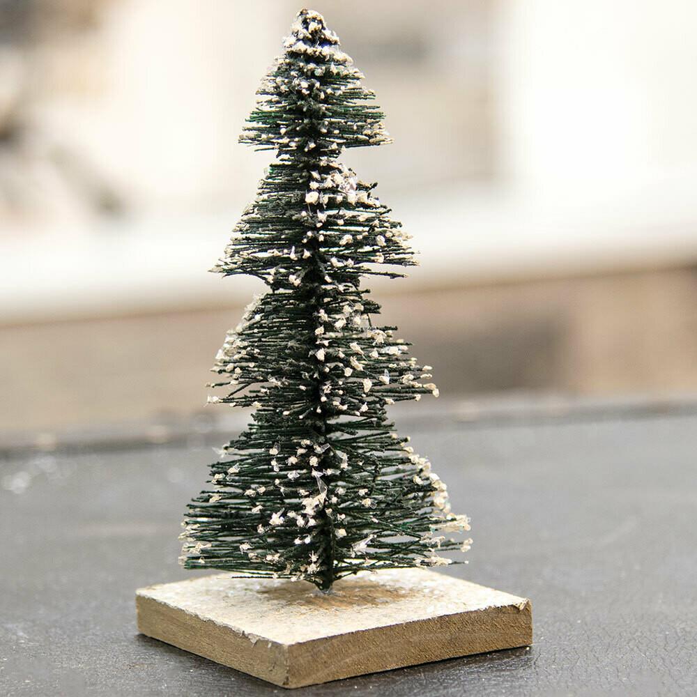 Lg Snowy Tree on Wood Base
