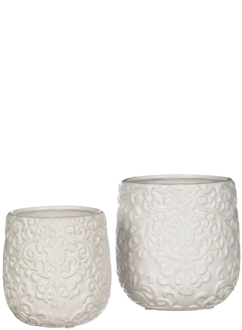 Lg White Embossed Vase