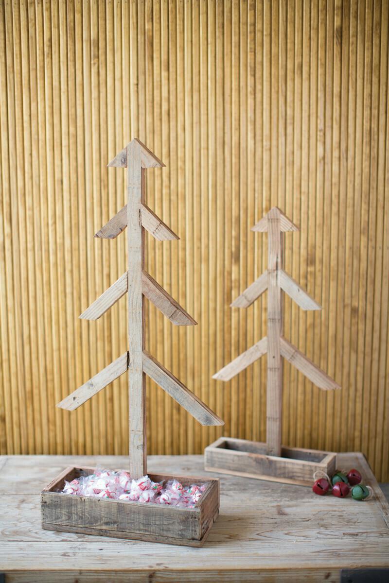 Lg Wood Christmas Tree w Wooden Tray
