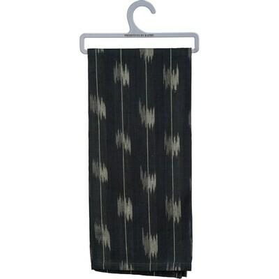Navy Ikat Striped Towel