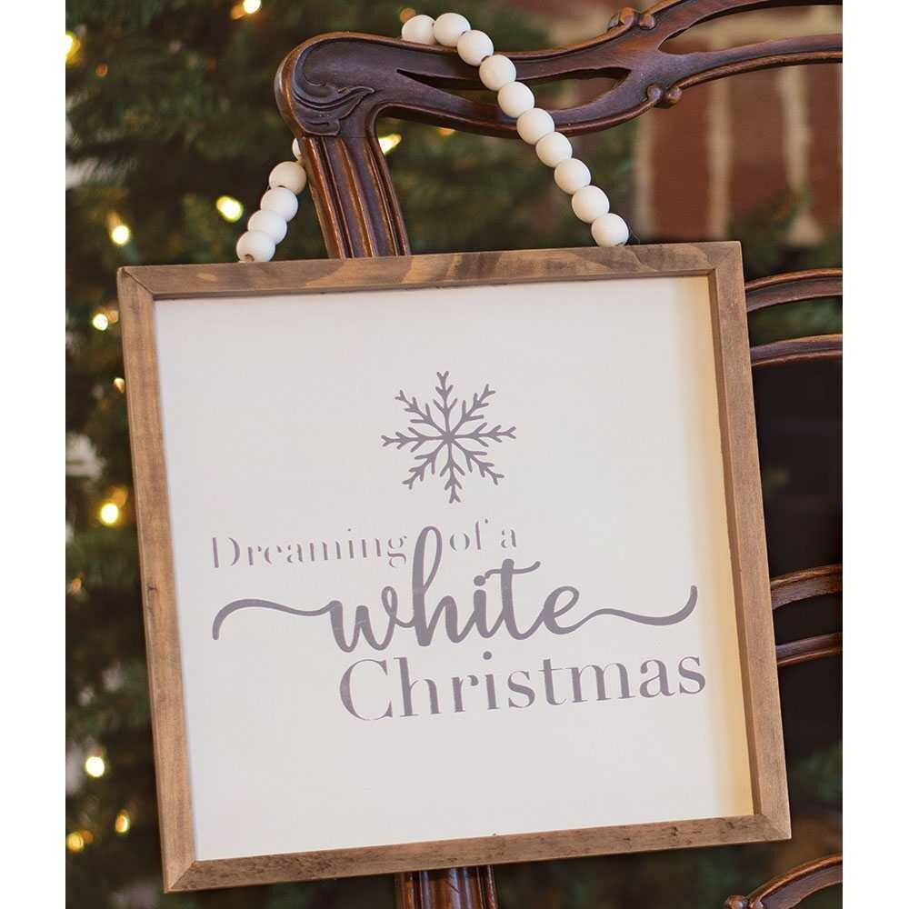 White Christmas Beaded Sign