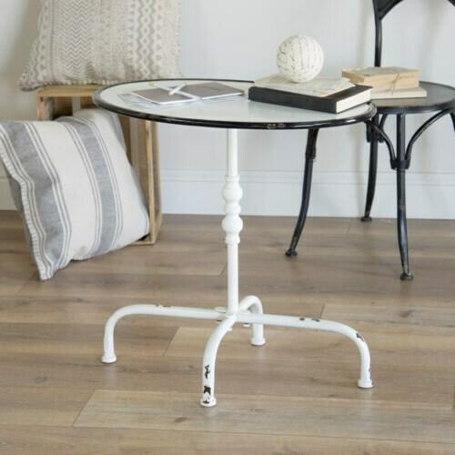 White & Black Metal Table