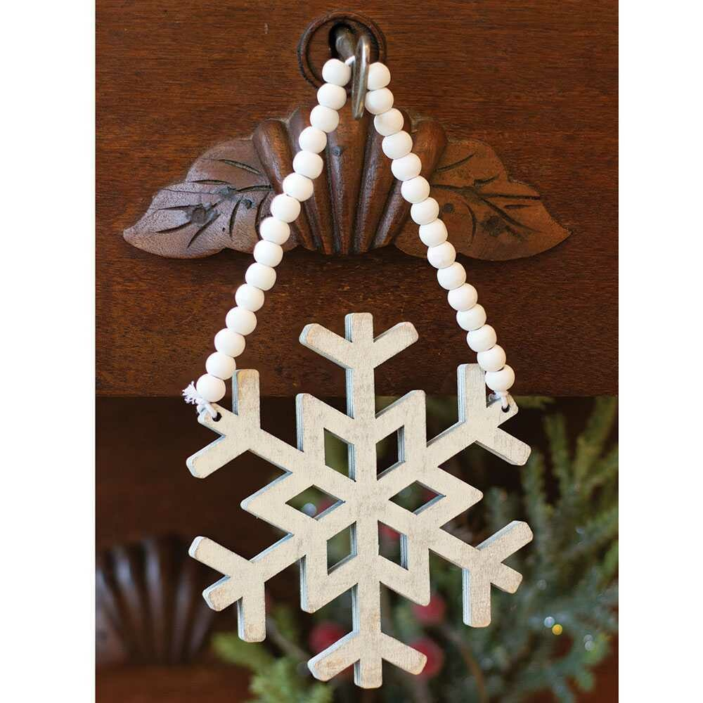 Wooden Snowflake Beaded Ornament