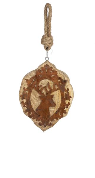 Wood & Metal Deer Ornament