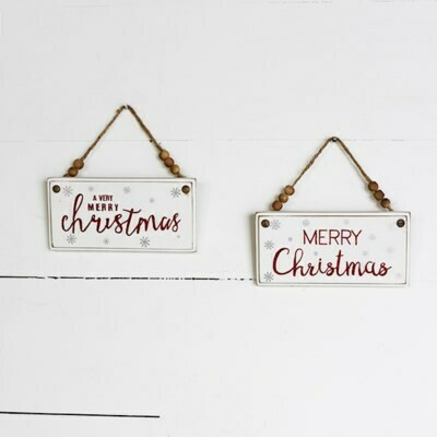 Beaded Christmas Sign Ornament