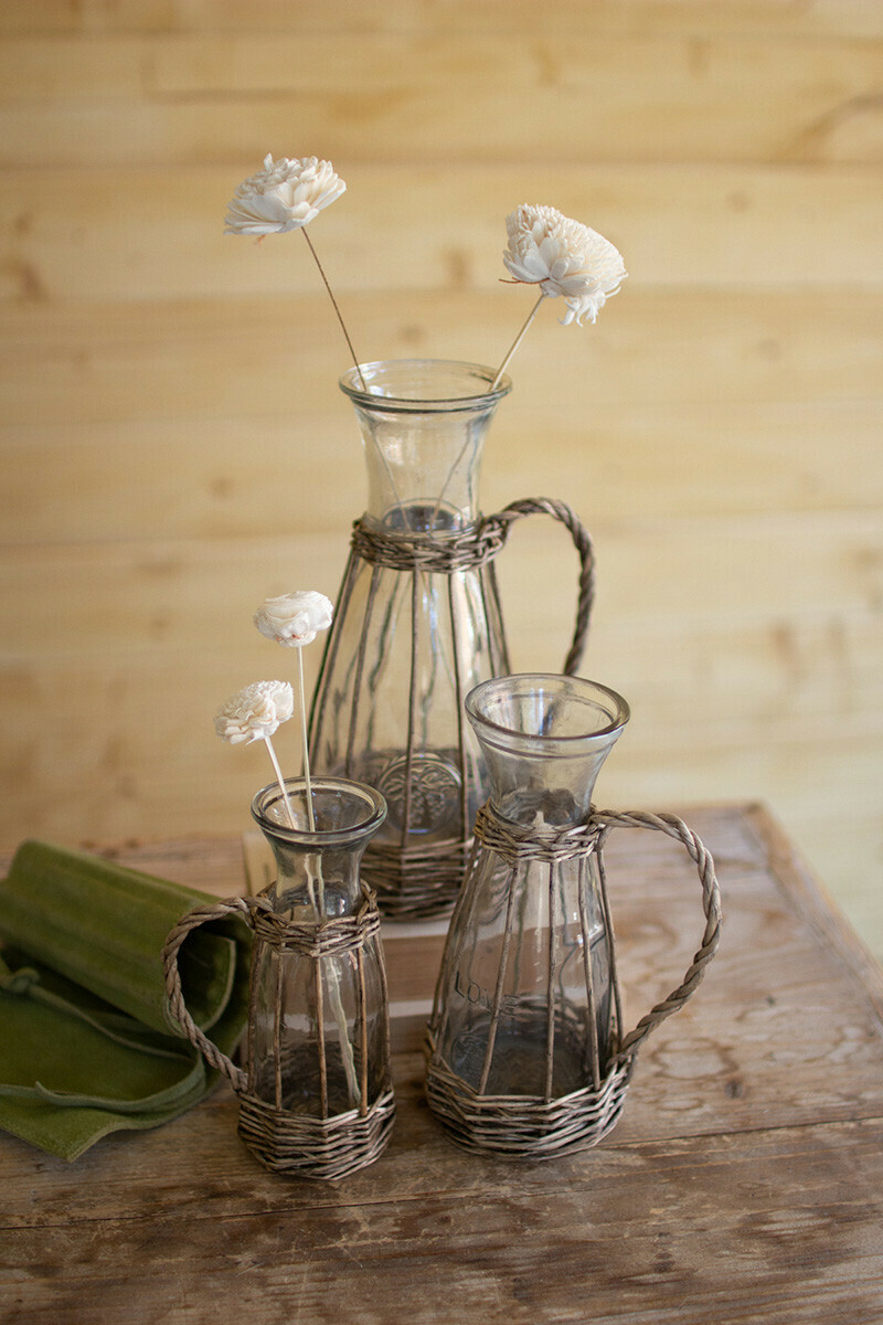 Lg Wicker Vase w Handle