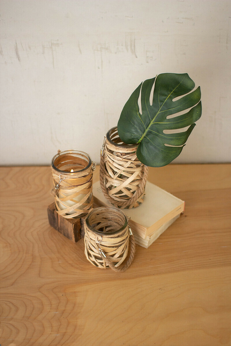 Lg Wicker Wrapped Vase