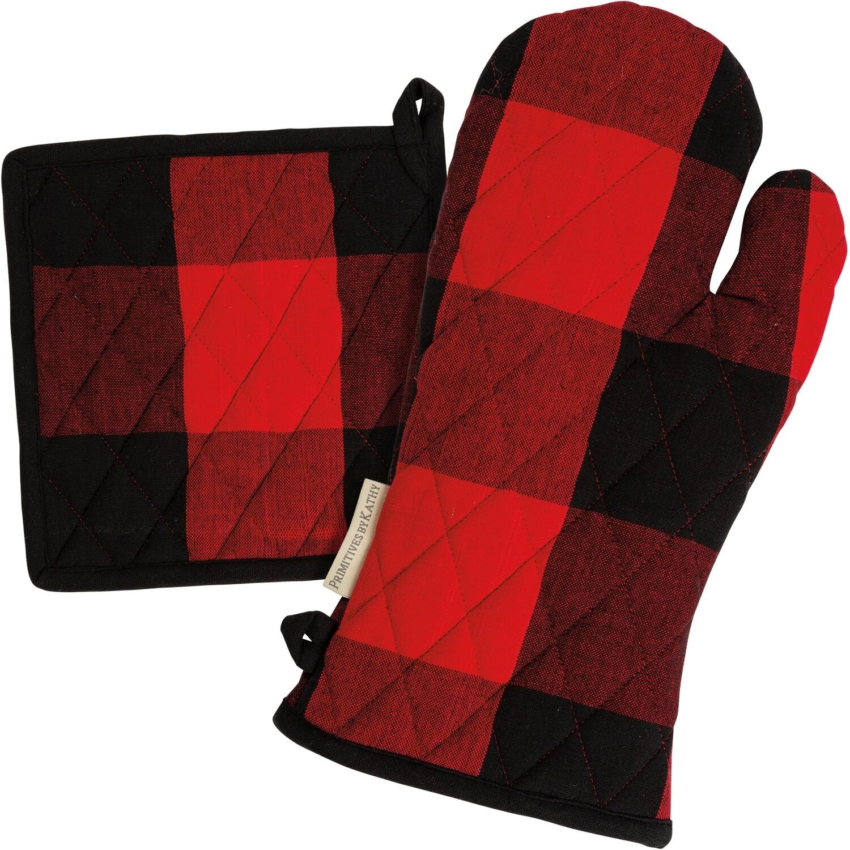 Red & Black Check Hot Pad Set