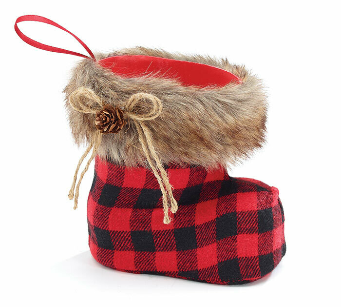 Red & Black Plaid Santa Boot