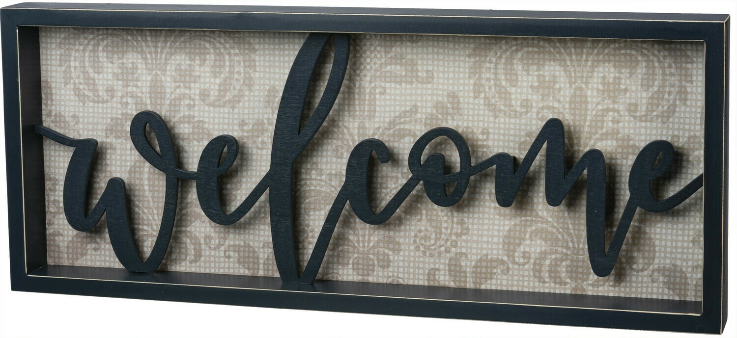 Welcome Reverse Box Sign