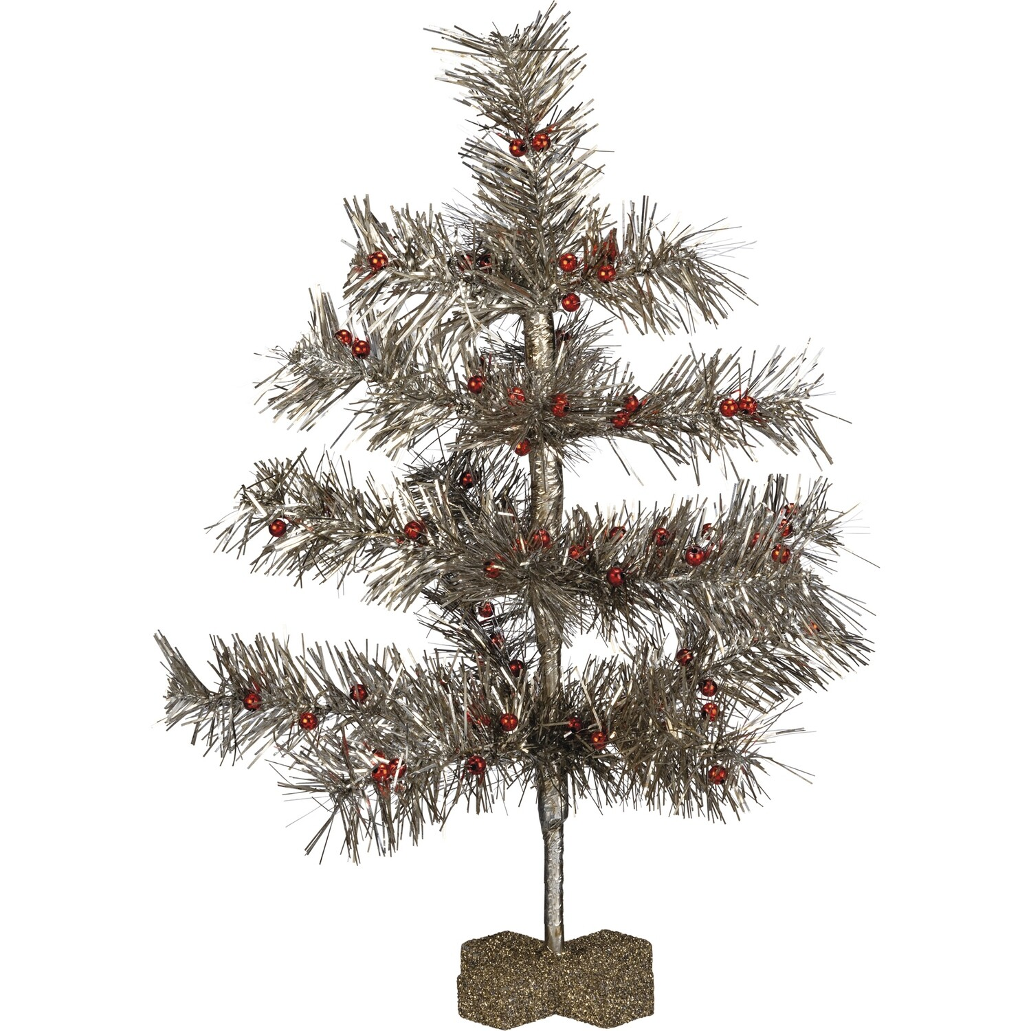 Sm Red & Silver Tinsel Tree
