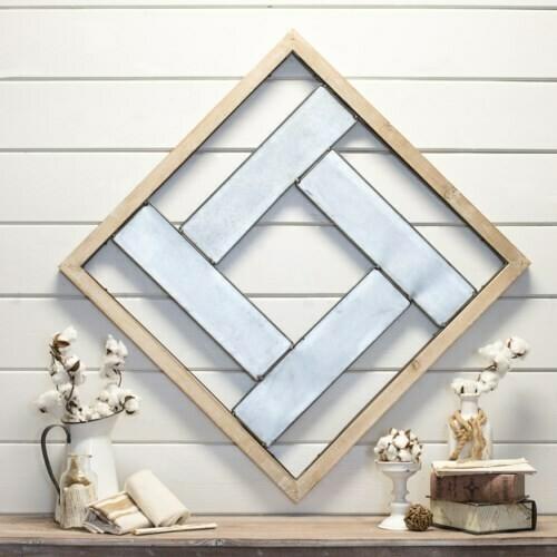 Square Metal & Wood Wall Hanging