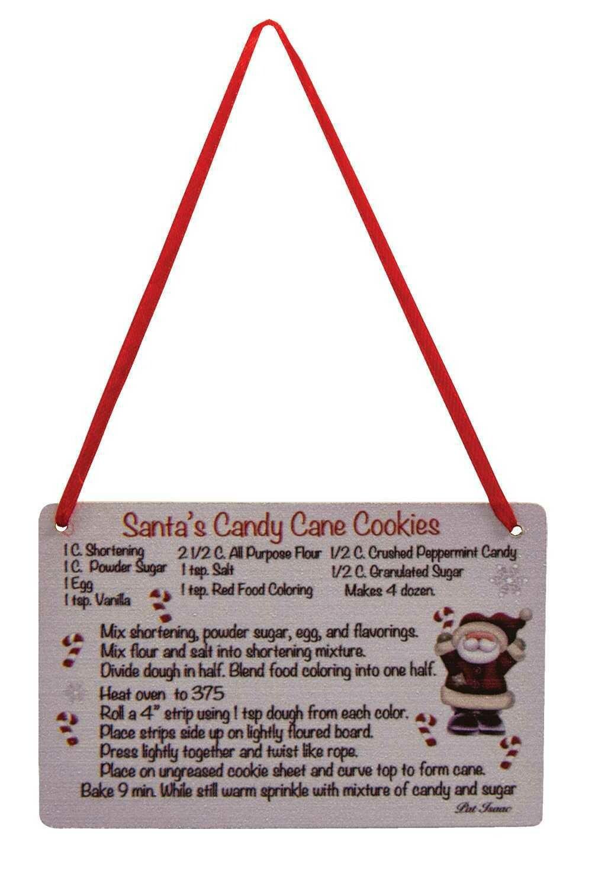 Santa's Candy Cane Cookie Recipe Ornament
