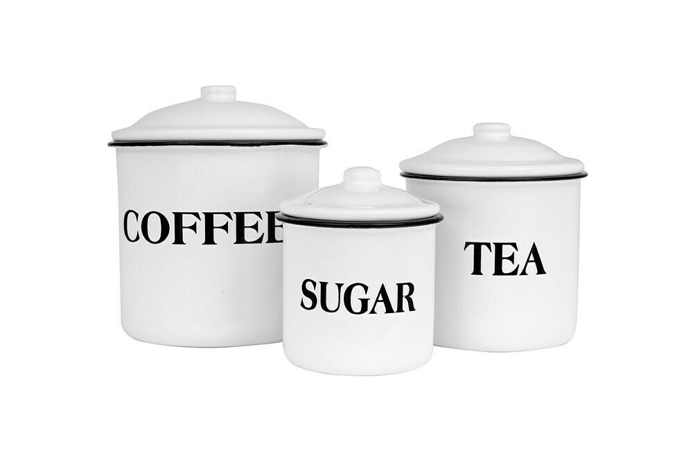 Set of 3 Coffee, Tea & Sugar Canisters