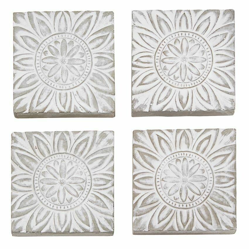 Set of 4 Concrete Floral Coasters