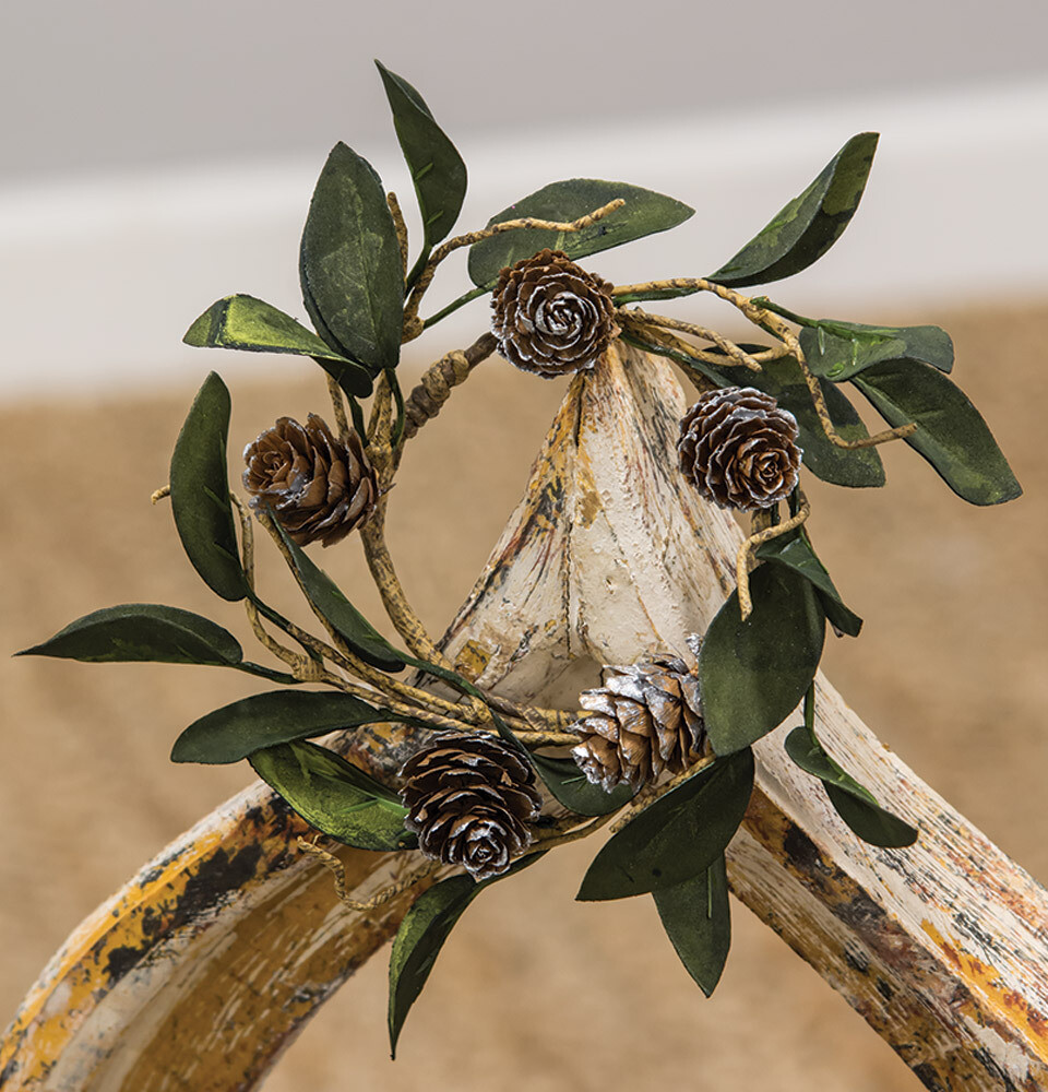 Silver Frosted Pinecone Candle Ring