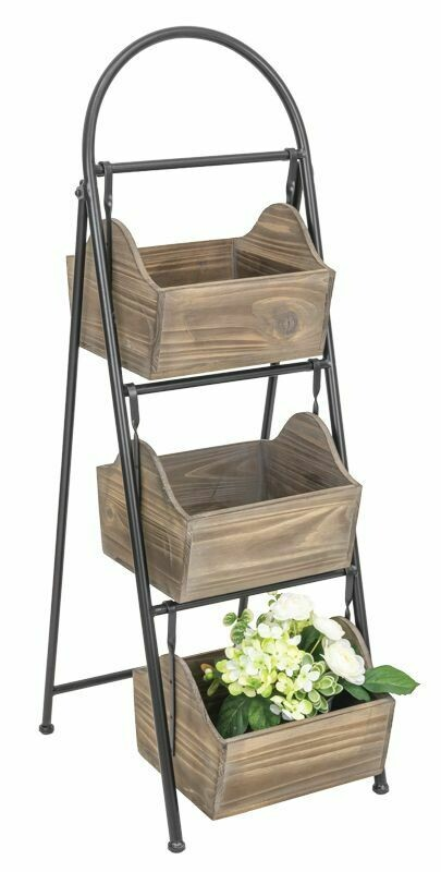 Rustic Wood Box Tiered Display Stand