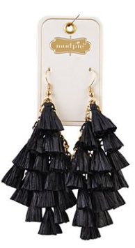 Black Raffia Tassle Earrings