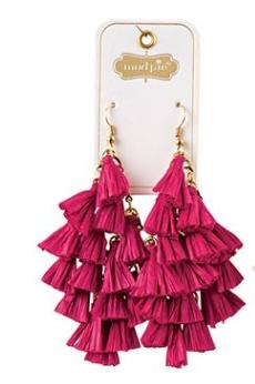 Pink Raffia Tassle Earrings