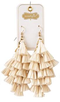 Cream Raffia Tassle Earrings
