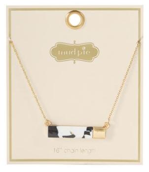 Black Resin Bar Necklace