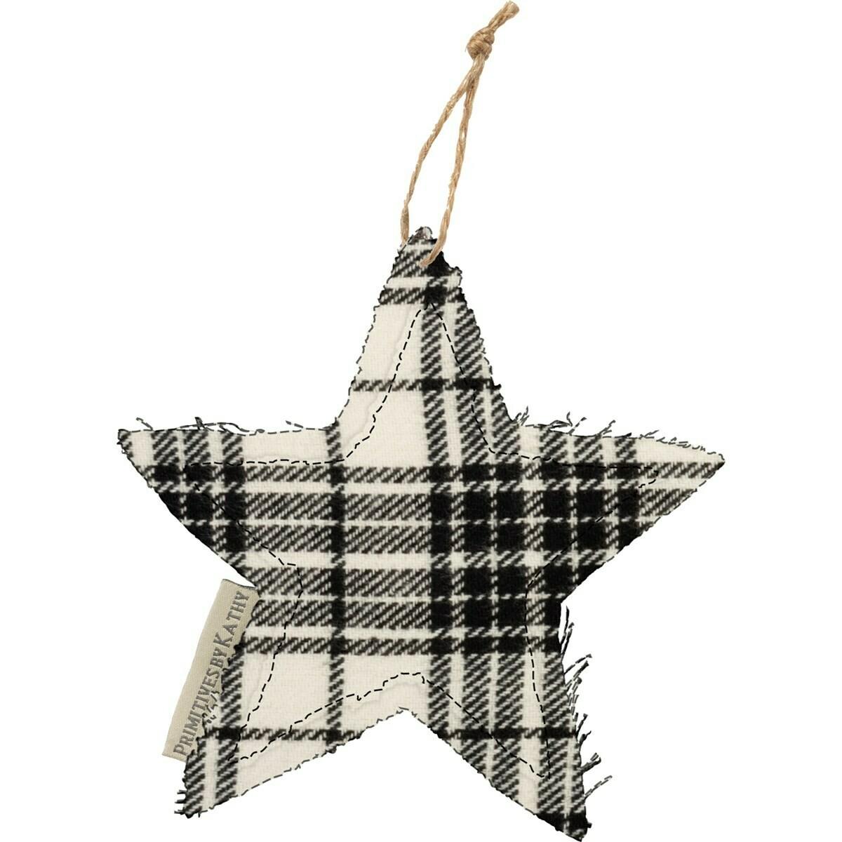 B&W Plaid Star Ornament