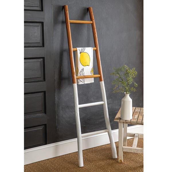 Natural & White Wood Blanket Ladder