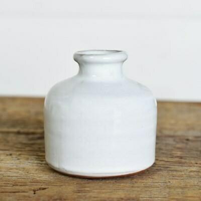 """3"""" Fat White Vase"""