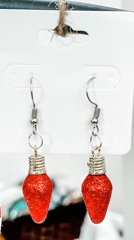 Red Light Bulb Earrings