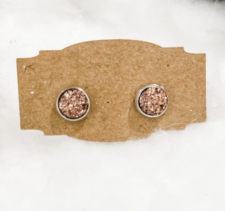 Sm Rose Gold Druzy Earrings