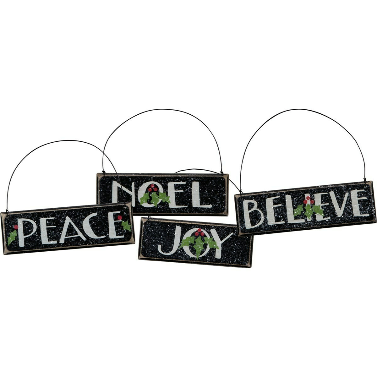Black Wood Holiday Sentiment Ornament