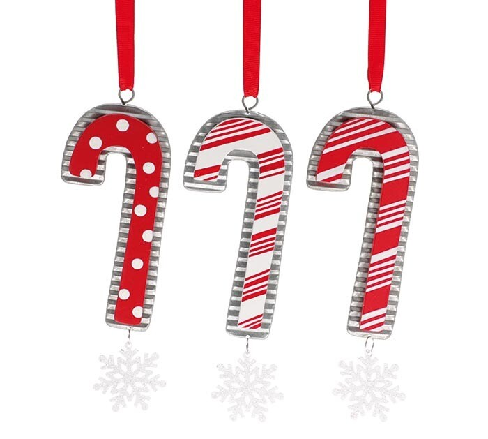 Candy Cane with Snowflake Ornament