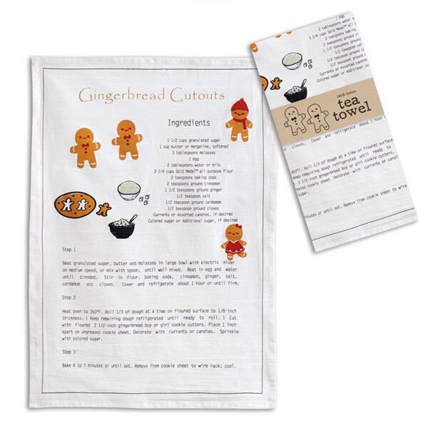 Gingerbread Recipe Tea Towel
