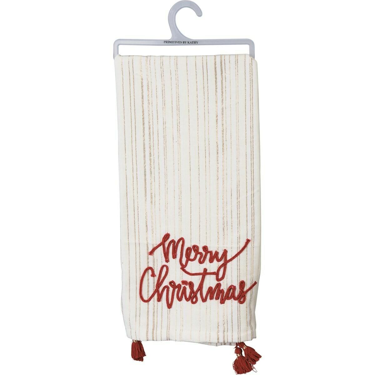 Merry Christmas Sparkle Tassel Towel