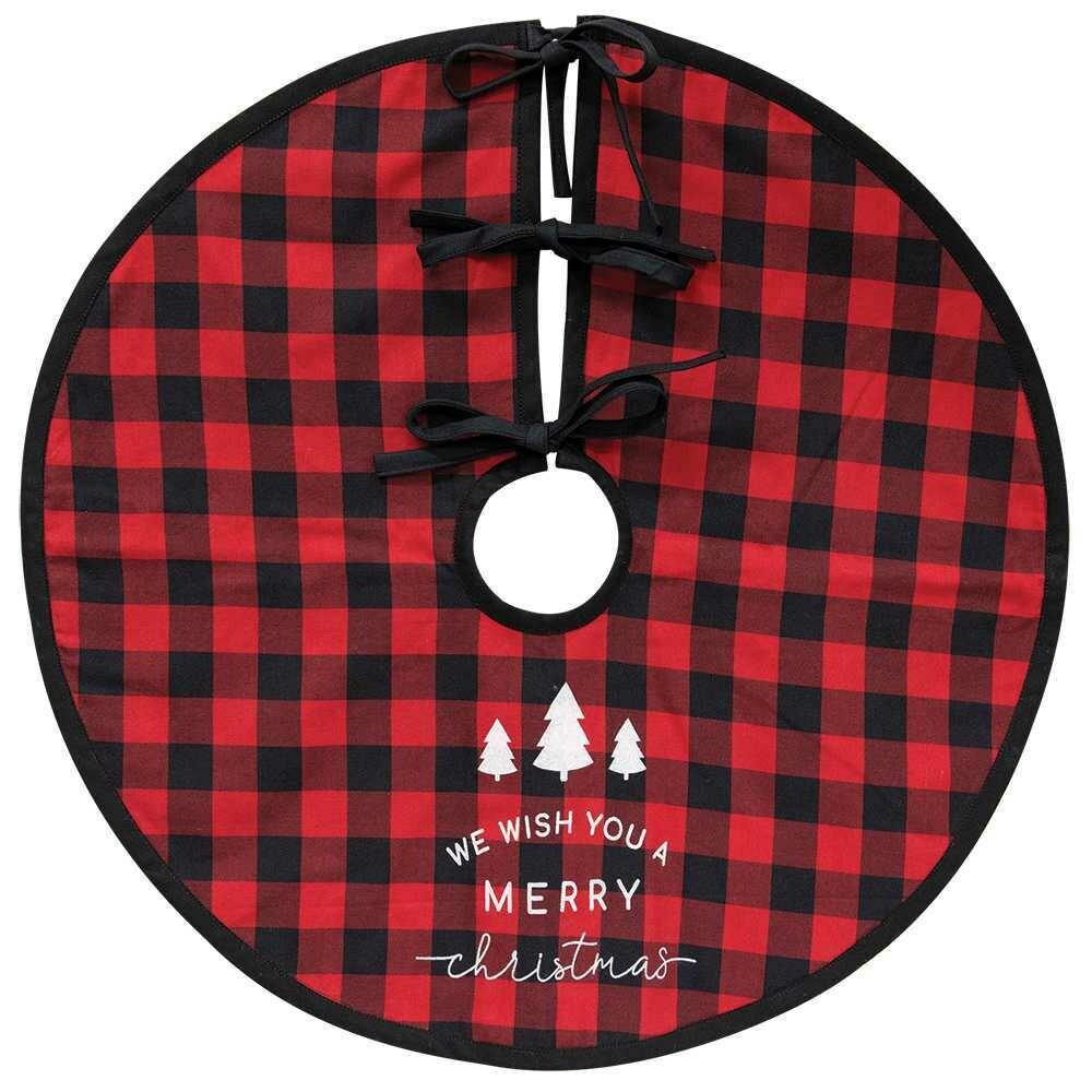 Merry Christmas Buffalo Check Tree Skirt